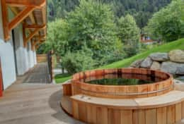Wooden jacuzzi is made by local craftsmen  from local materials.