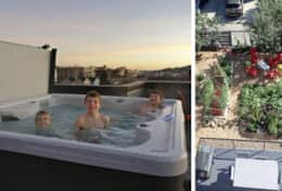 22. Plum's rooftop hot tub with garden below