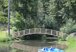 Bridge and pedal boat at the main pond
