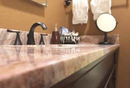 Newly remodeled downstairs bathroom with granite counters
