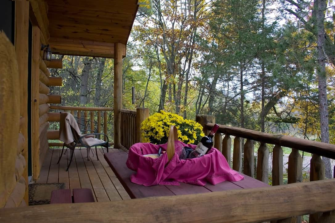 Covered porch at Pine Grove Park Bed and Breakfast Guest House in Reedsburg, Romantic Wisconsin
