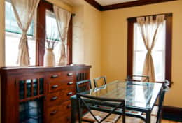 The dining area is filled with charm with the original built in buffet, a dining table for six.