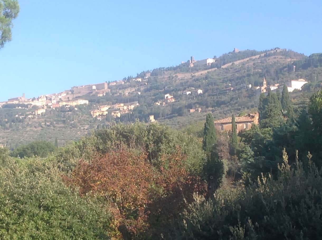 The fabulous view up to the ancient Etruscan city of Cortona