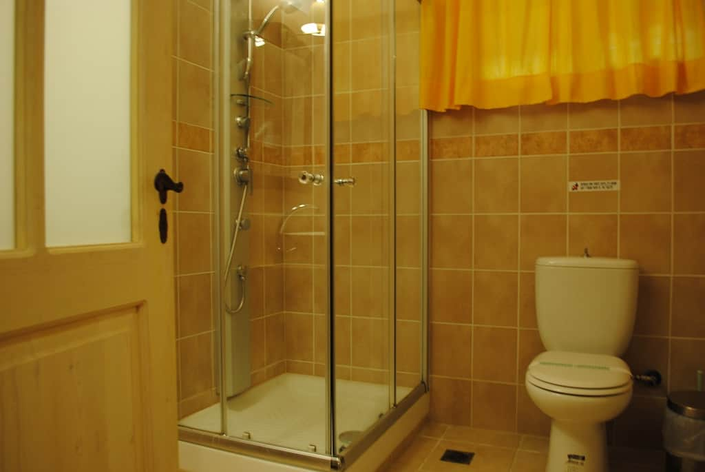 Bathroom with jetted shower