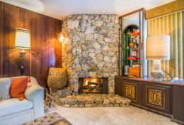Our stone fireplace is the height of 70s design
