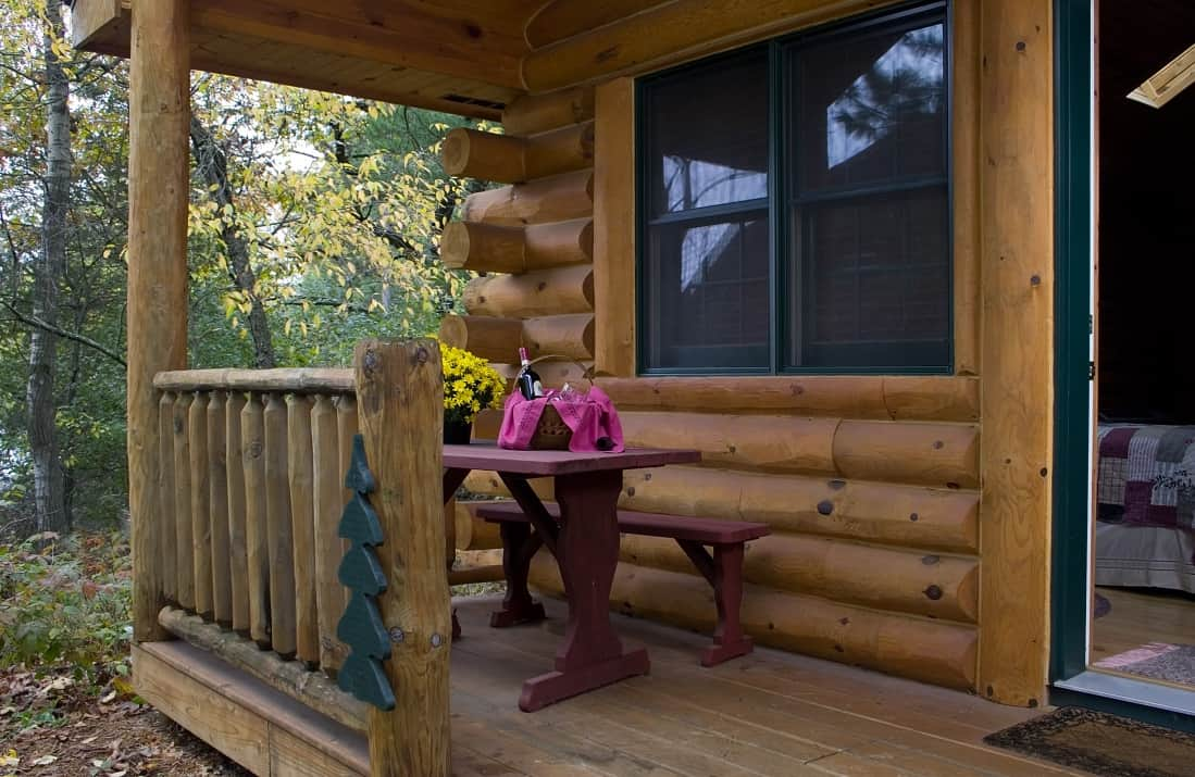 Porch at Pine Grove Park Bed and Breakfast Guest House Romantic Getaway in Reedsburg