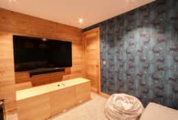 Large screen of the home cinema room.