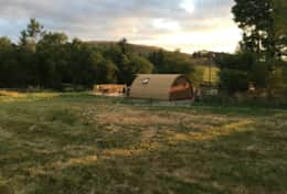 View of Glamping pod showing field and surrounding area