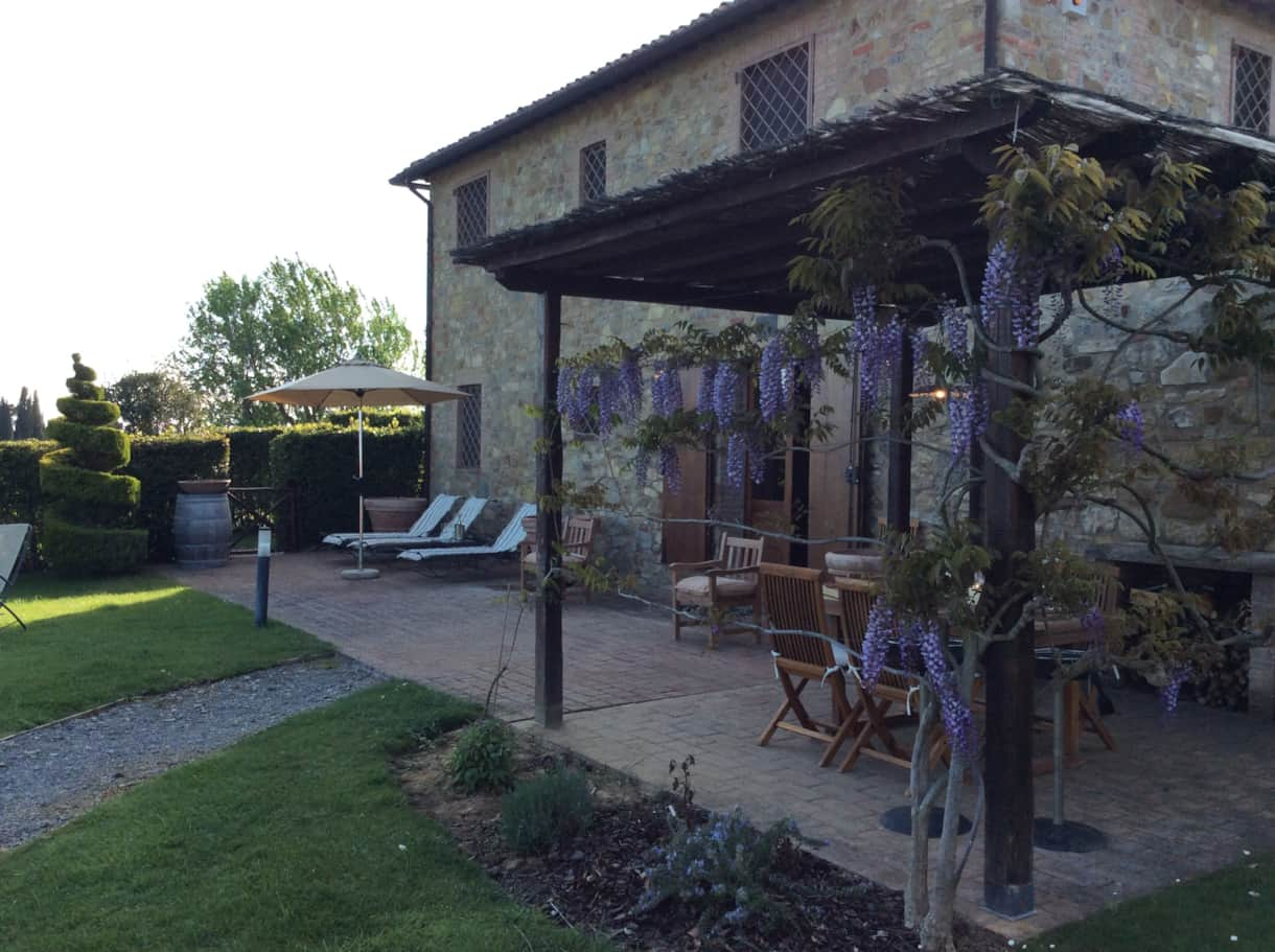 The Villa's shady Pergola is ideal for al fresco dining.