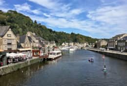 Dinan Port with many restaurants and bars