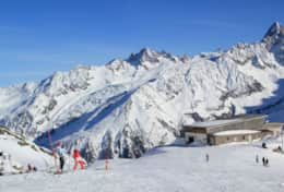 Skiing in La Flegere - top station of Index ski lift (2396 m)
