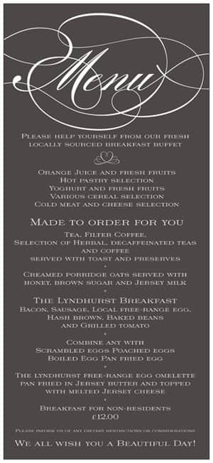 The Lyndhurst Jersey - Breakfast Menu